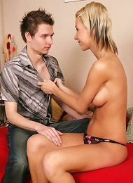 Denise loves to have her mouth sprayed with a big load!